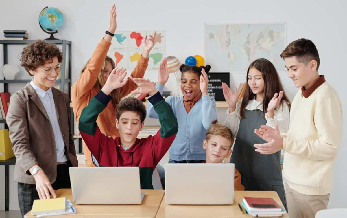 group of people taking English classes online