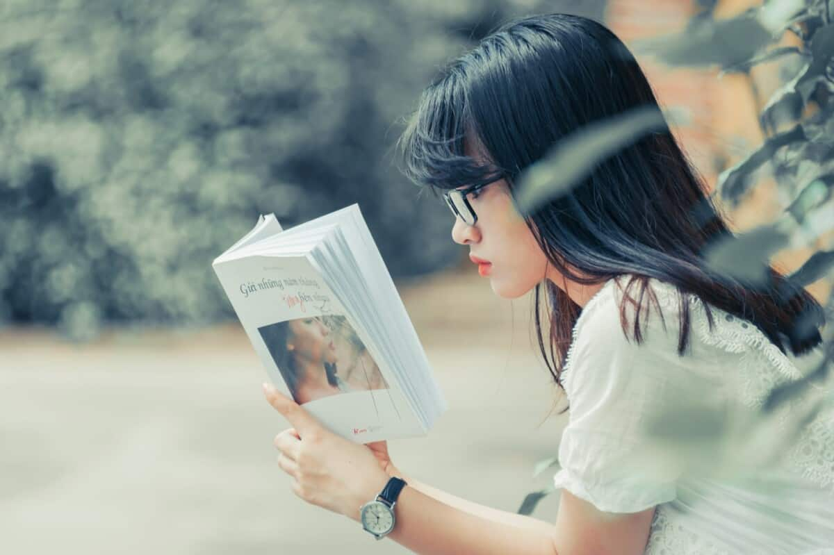Girl Reading English Book