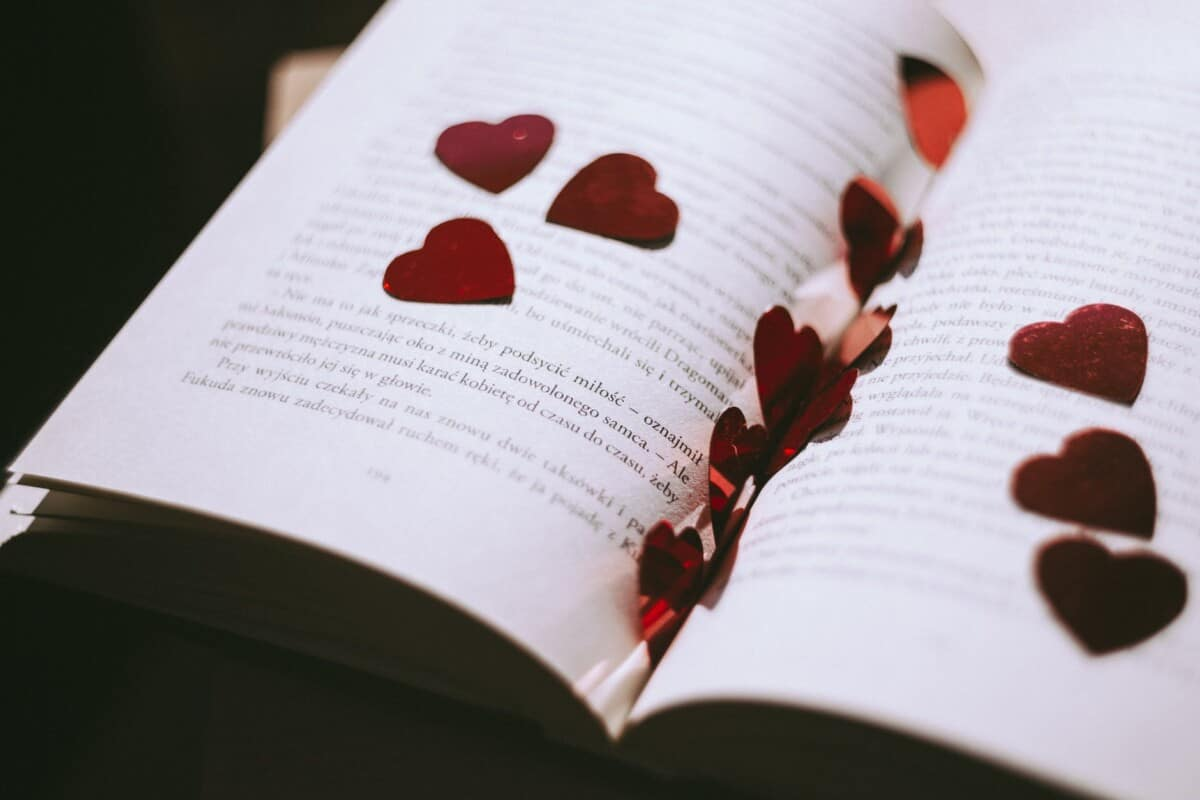 poetry book with heart petals