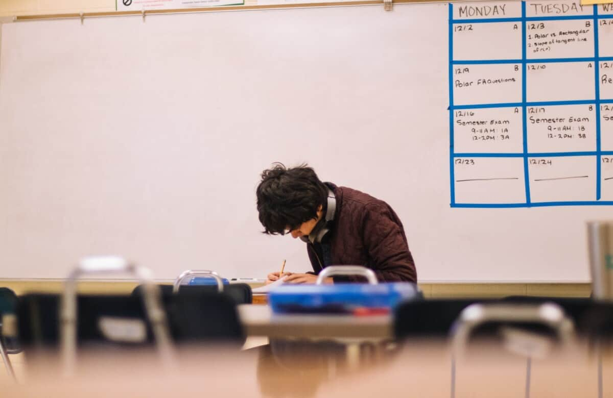 man taking IELTS exam