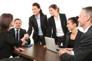 people in black suit meeting
