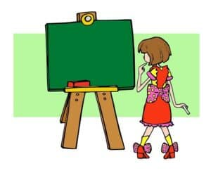 girl and a blackboard