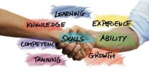 hands with skills, knowledge, learning