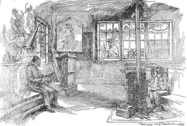 sketch of two man watching a person