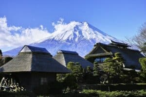 mt fuji and japanese houses